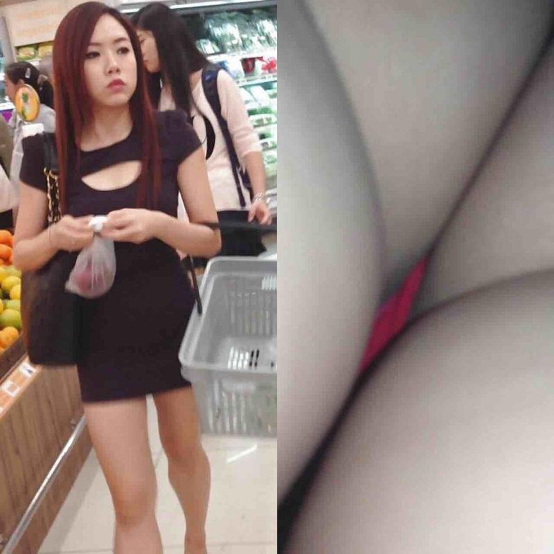 買い物中の美女の下着を逆さ撮り!