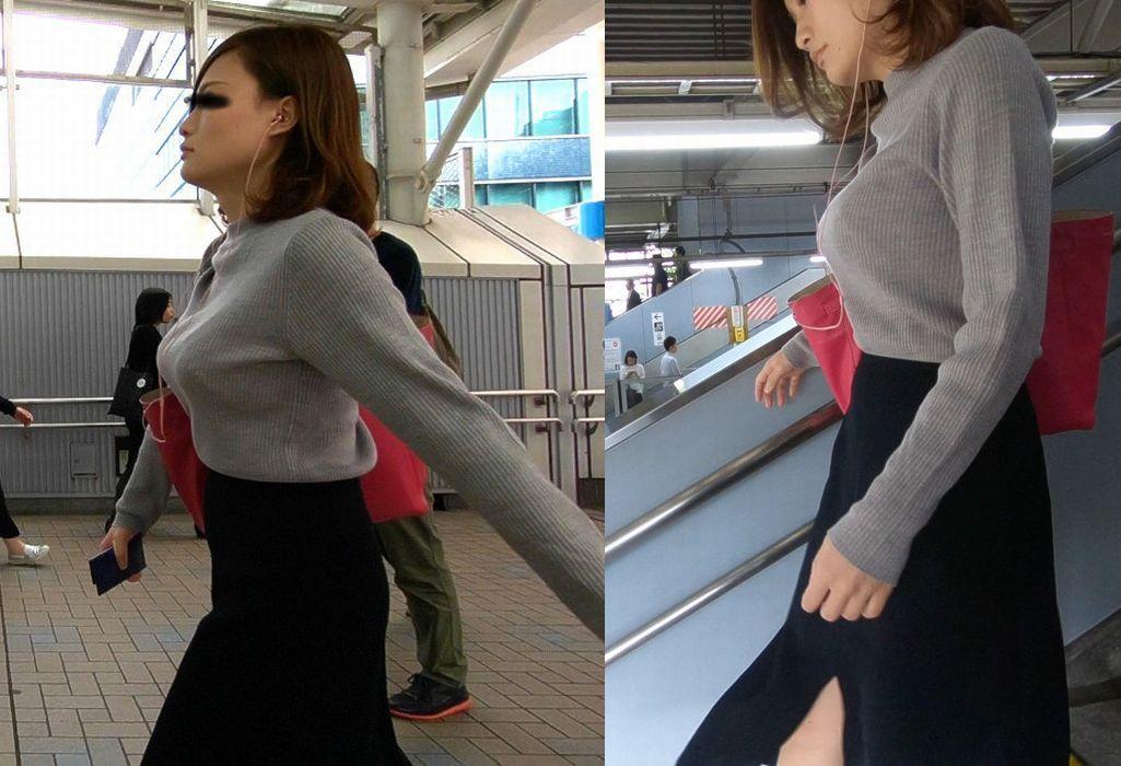 スタイル良い激カワ女性の着衣巨乳!
